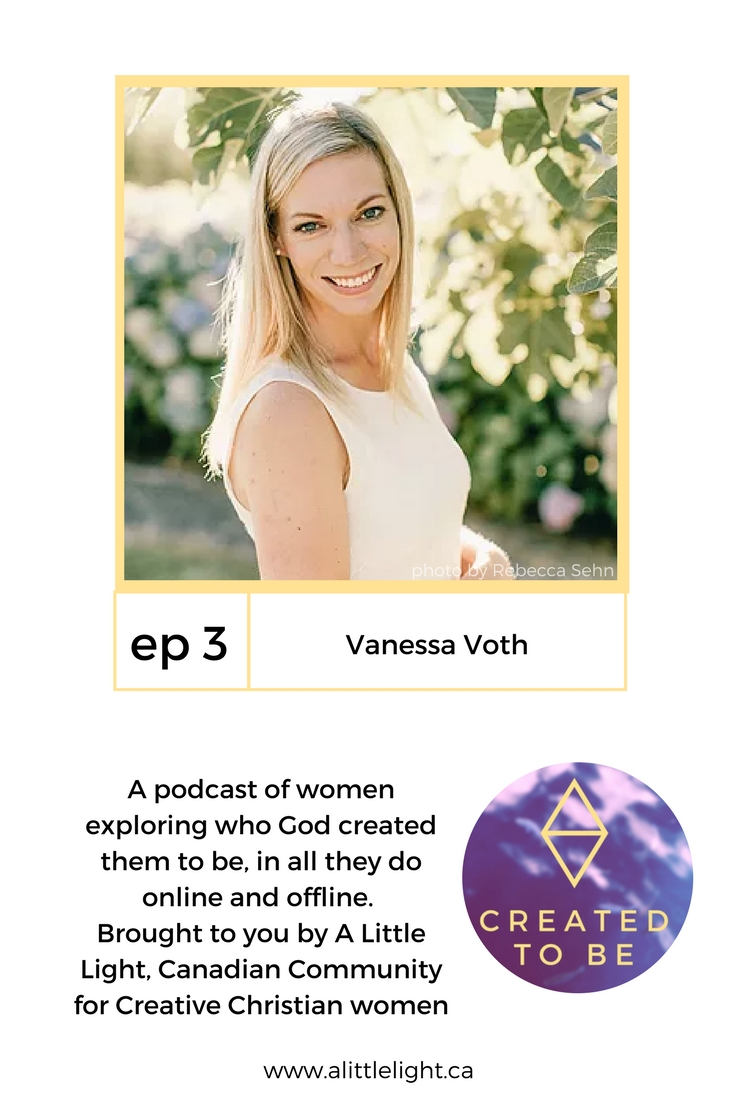 headshot of vanessa voth and description of the created to be podcast