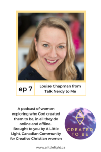 headshot of louise and podcast description